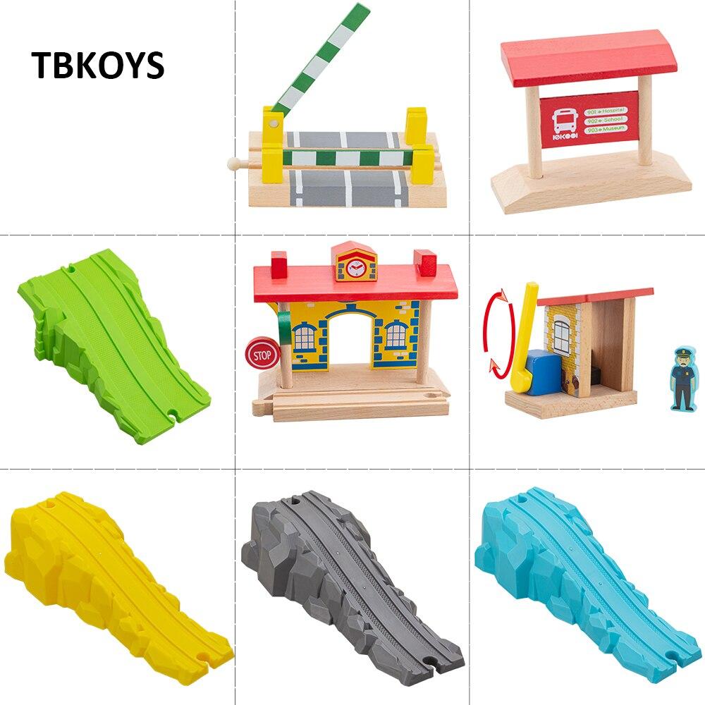 Wooden Bridge Piers Wooden Train Tracks Set Train Accessories Track Pieces Blocks Toys bloques de construccion