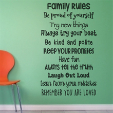 Family rule wall art vinyl decal sticker Home Decor Wall Decals Cartoon living Removable Sticker N453