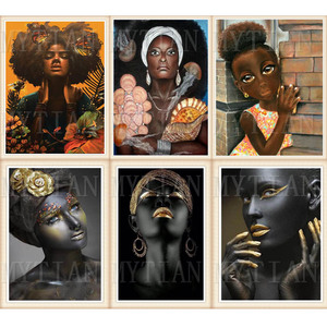 5D алмазная картина, Черное золото, африканская художественная Женская Вышивка крестиком, мозаика, вышивка, стразы, полностью квадратная кру...