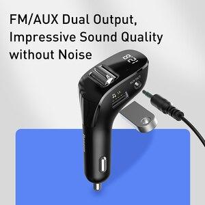 Image 5 - Baseus جهاز إرسال موجات FM للسيارة بلوتوث 5.0 راديو FM المغير عدة السيارة المزدوجة USB شاحن سيارة يدوي لاسلكي Aux الصوت مشغل MP3