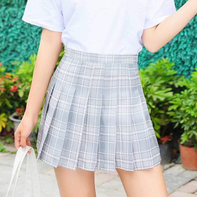 Harajuku Short Skirt New Korean Plaid Skirts Women Zipper High Waist School Girl Pleated Plaid Skirt Sexy Mini Skirt Plus Size 2