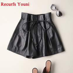 2020 Spring Ladies New Europe/America High Waist Genuine Leather Shorts Women Tether Belt Loose Wide Short Pants Street Scanties
