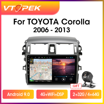 Vtopek 9 2 din 4G+WiFi Android Car Radio Multimedia Video Player Navigation GPS For Toyota Corolla E140/150 2006-2013 Head Unit vtopek 9 4g wifi 2din android 8 1 car radio multimedia player navigation gps for toyota prado 3 j120 2003 2009 head unit 2 din