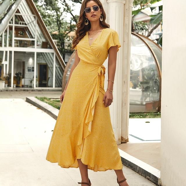 Floral Print Maxi Dress Women Short Sleeve V Neck Ruffles Belt High Waist Dress 2020 Casual Chic Simple Vestidos Retro