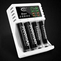 2019 recentemente inteligente recarregável led carregador de bateria com 4 portas preto para aa ou aaa|Carregadores| |  -