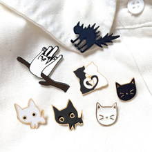 Cartoon Animal Brooches Black White Couple Cat Fish Bone Enamel Pins Clothes Collar Lapel Pin Bag Metal Badges Jewelry For Lover(China)