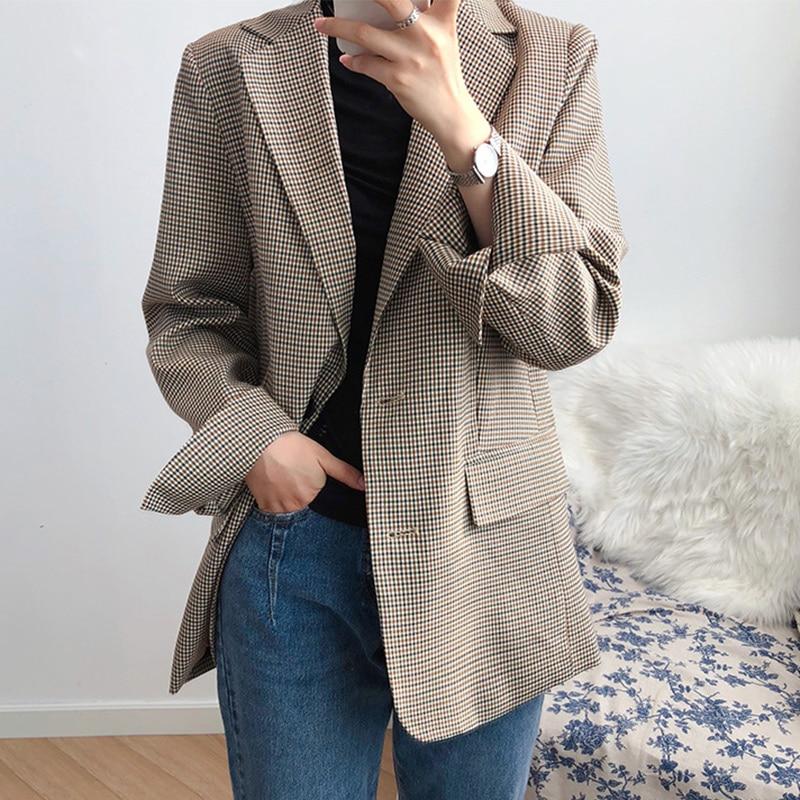 Fashion Single Breasted Plaid Blazer Women Khaki Pocket Long Sleeve Retro Ladies Blazers Spring Autumn Female Outerwear Coats