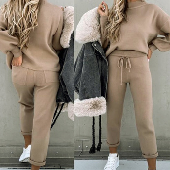 Tracksuits Women's Fleece Sweatshirt Sets Lantern Sleeve Pullover Drawstring Pants Set Clothing Women 2020 Autumn Sportswear 7