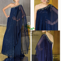 Sparkling Bling A line Blue Beading Crystals Chiffon Sequins Asymmentric Custom Made Mother Of The Bride Dresses Mother Dresses