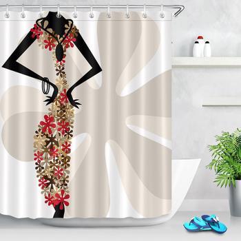 цена на Sexy Girls Creativity Women Shower Curtain Flower Print Cloth Fabric Curtain For Bathroom Shower Waterproof Bathtub Accessories