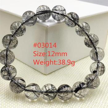Genuine Natural Black Rutilated Quartz Clear Round Beads Bracelet Crystal For Women Men Brazil 8mm 9mm 10mm 11mm 12mm AAAAAA