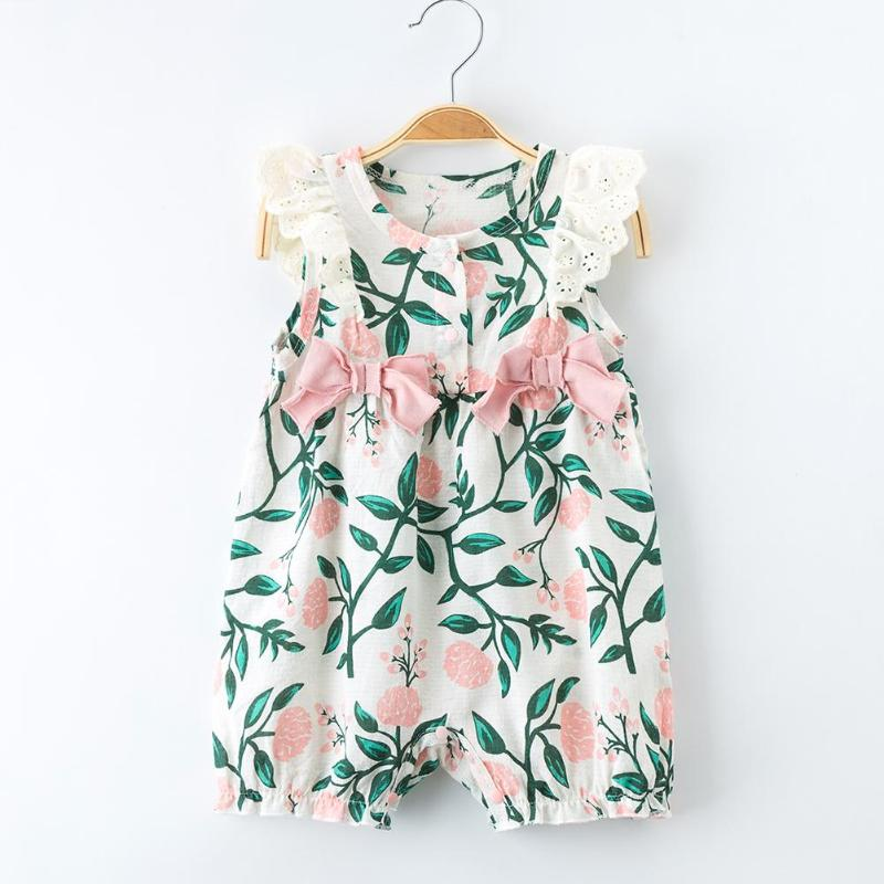 Summer Baby Bowknot Sleeveless O-neck Romper Button Floral Girls Jumpsuit