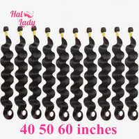 Halo Lady Beauty-extensiones de cabello humano ondulado brasileño, cabello Remy 1B 3, 5, 10 uds, paquete de 30, 32, 34, 36, 38, 40, 50, 60 pulgadas, oferta