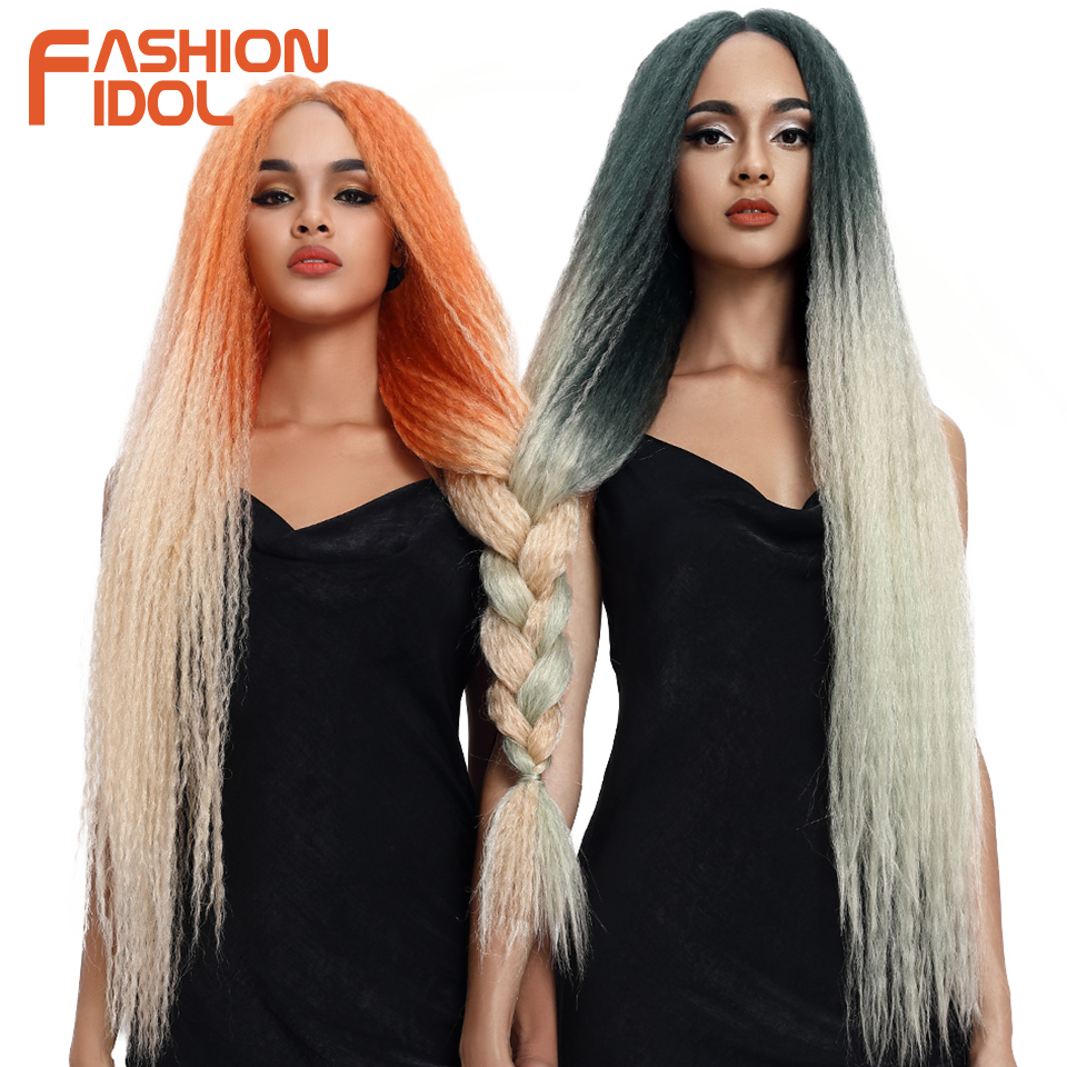 FASHION IDOL Afro Kinky Straight Hair Weave Long Braided Wig Cosplay 38inch Lace Front Wigs For Black Women Ombre Pink Green Wig