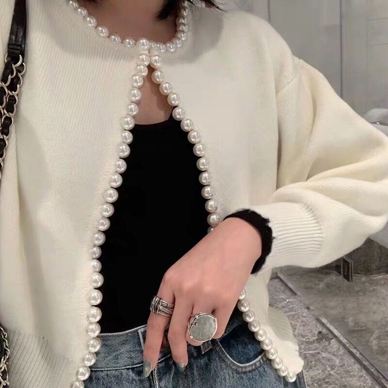 Beading V Neck Knitted Sweater Women Jacket Long Sleeves Knitted Cardigan KnitwearTops