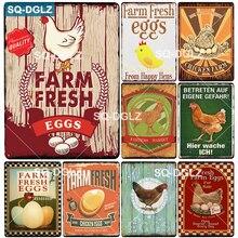 [SQ-DGLZ] huevo cartel de Metal Vintage granja de PLACA de Metal placa de pared para la decoración de Bar estaño signos pollo cartel regalo