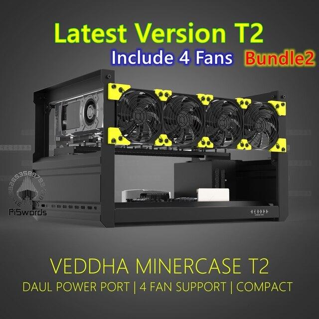 VEDDHA 6 GPU T2 установка для майнинга, алюминиевый чехол с открытым воздухом, компьютер, установка для майнинга ETH, комплект для майнинга Bitcon 2
