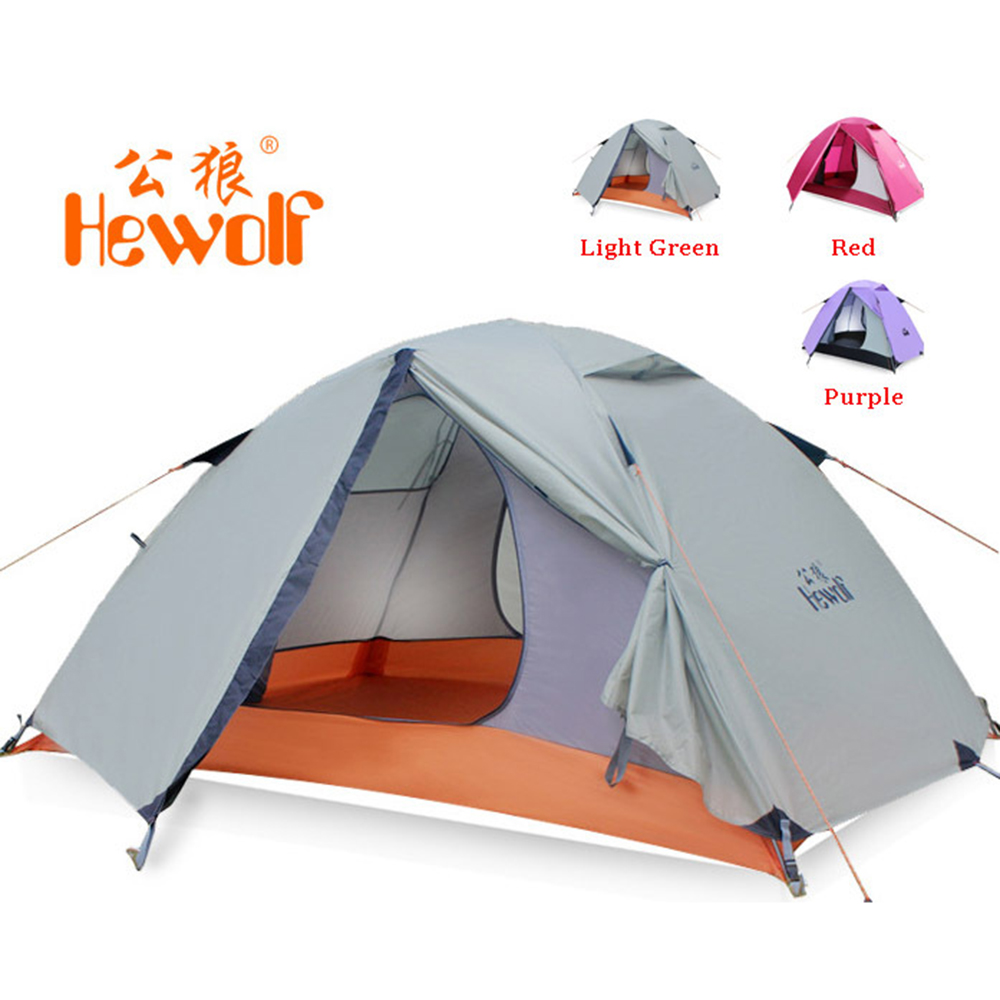 Hewolf 1595 Outdoor Double Layer Ultralight Aluminum Pole Waterproof Windproof Camping Tent 2.51KG Beach Tent Barraca