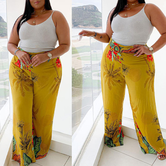 Flared Pants Mid-waist Elastic Long Yellow Plus Size Loose 6