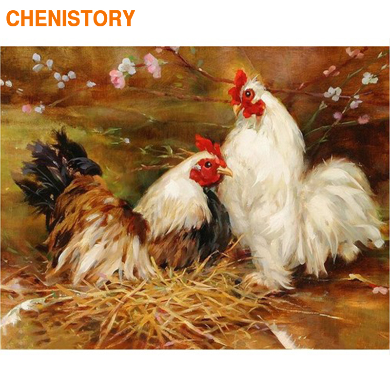 CHENISTORY Frame Cock DIY Painting By Numbers Modern Wall Art Picture By Numbers Acrylic Canvas By Numbers For Home Decors 60x75