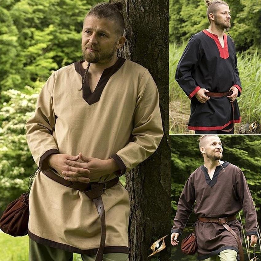 Halloween, camisa de los hombres Medieval vikingos disfraz de pirata Cosplay manga larga túnica suelta de los Celtics túnica Guerrero Caballero superior Saxon blusa