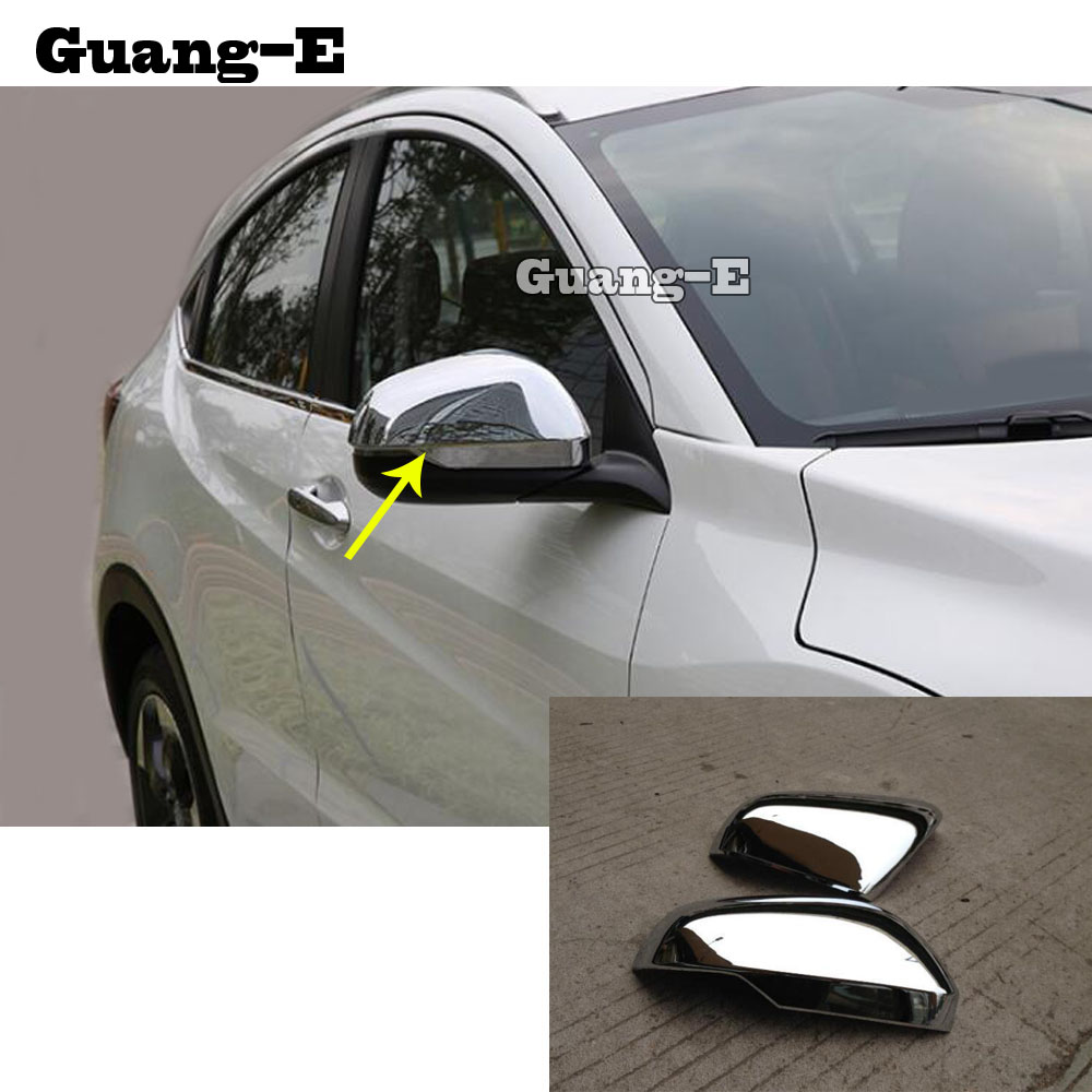 Car Decoration Back Rear View Rearview <font><b>Side</b></font> Door <font><b>Mirror</b></font> Cover Stick Trim Frame 2pcs For <font><b>Honda</b></font> <font><b>HRV</b></font> HR-V Vezel 2019 2020 image