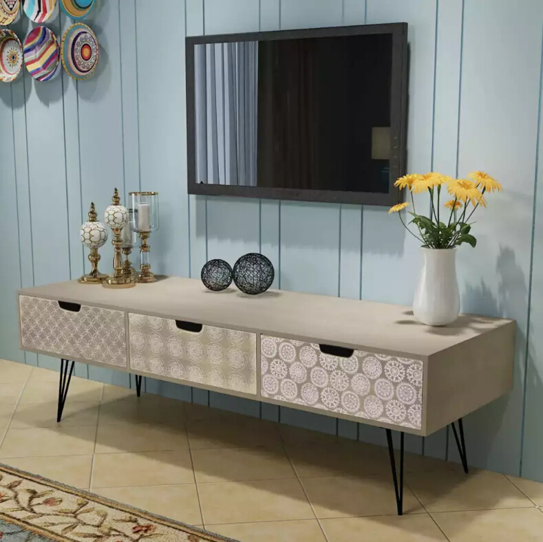 Modern Tv Stand Living Room Furniture VidaXL Modern TV Cabinet With 3 Drawers 120x40x36 Cm Grey High Quality Assembly Furniture