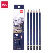 Deli 7b lápis estudante esboço esboçar 12 pçs/caixa s999 grafite acrílico material de escritório lapis ipencil