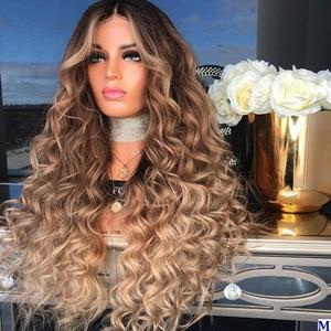 Глубокая волна индийские человеческие волосы 13x6 Синтетические волосы на кружеве парики для чернокожих Для женщин 180 плотность эффектом дег...