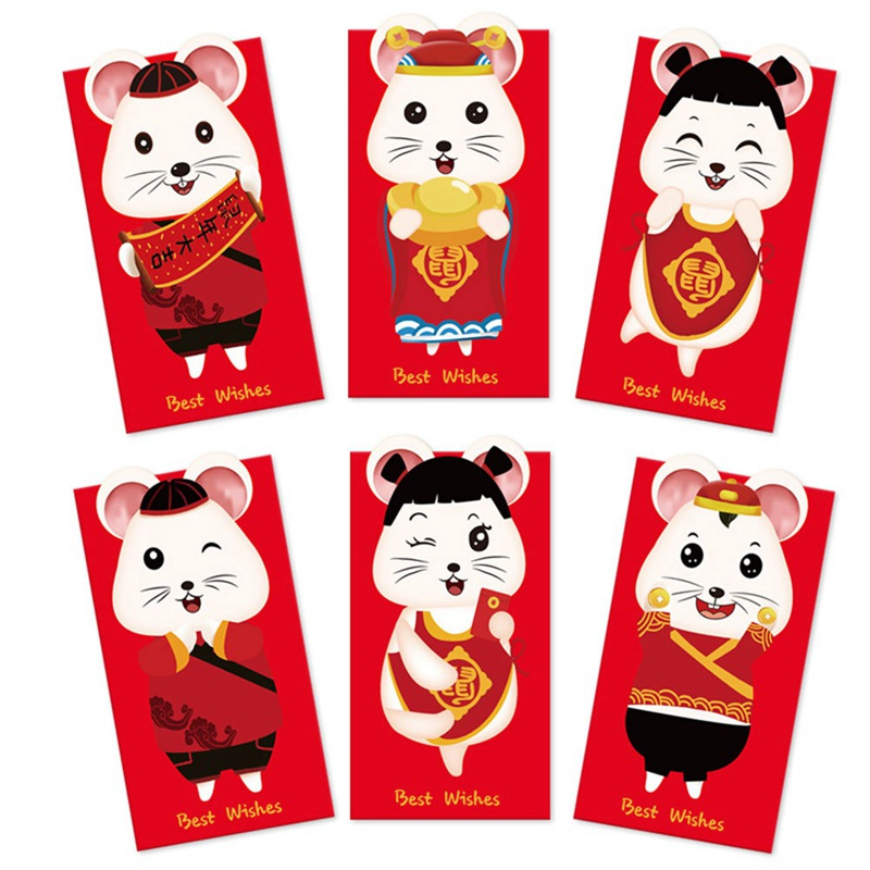 6pcs/set 2020 Chinese New Year Red Money Envelope/for Money Mini Greeting Cards Padded/gift/cute Envelopes For Invitations