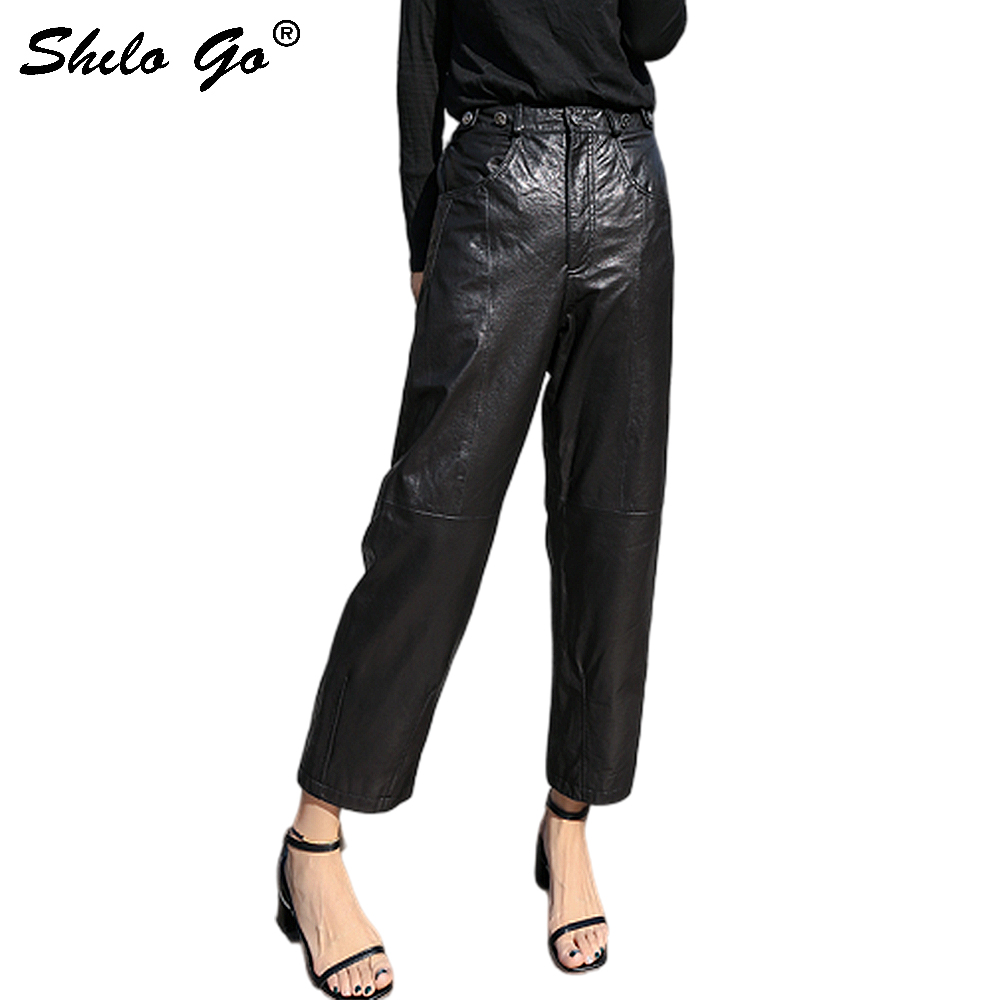 Genuine Leather Pants Highstreet Metal Button Detail High Waist Sheepskin Wide Leg Pants Women Autumn Winter Casual Trousers
