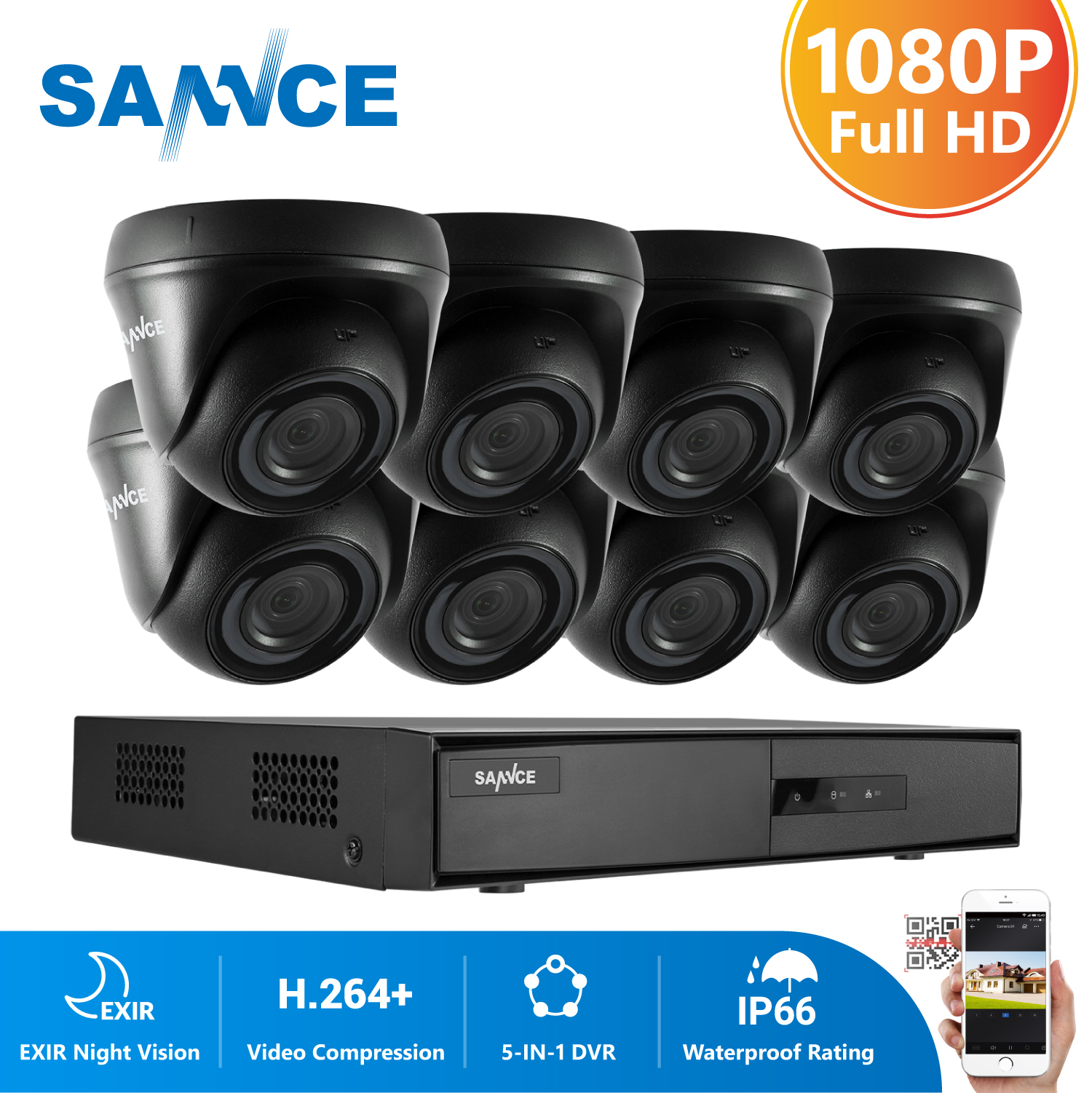 SANNCE 8CH 1080P Video Security System 5IN1 1080N DVR With 4X 8X 1080P Outdoor Weatherproof CCTV Home Video Surveillance Cameras