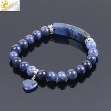 CSJA Naturstein Sodalith Armbänder für Frauen Männer Liebe Herz Blau Weiß Dot Perlen Stretch Heilung Buddhistischen Gebet Armreifen F109