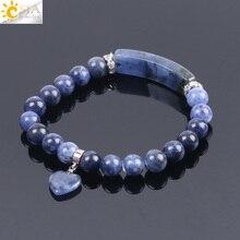Csja pulseiras de pedra natural sodalite, braceletes para homens e mulheres amor de coração azul e branco, com bolinhas stretch, pulseiras de oração budista f109