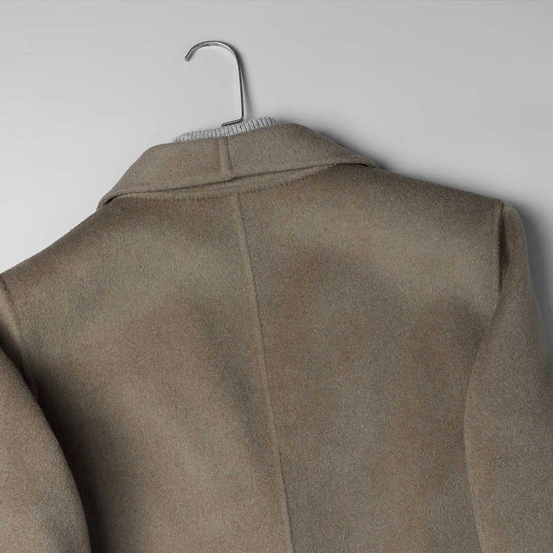 Dk 카멜 모직 의류 사업가 공식 중형 롱 울 코트 남성 가을 정장 55% 모직 자켓