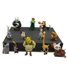 12 pçs/set DSN Shrek Panda TV Filmes de Madagascar Brinquedos Figuras de Ação PVC Brinquedos de Pelúcia Crianças Presentes Brinquedos para As Crianças Presentes de Natal