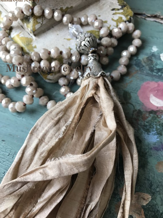 Long Hand Knotted <font><b>Sari</b></font> <font><b>Silk</b></font> <font><b>Tassel</b></font> Women Boho Crystal Beads Necklace image