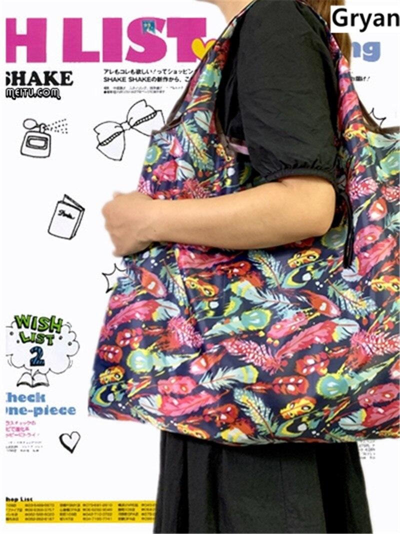 Новая сумка Recycle зеленая сумка для покупок Дамская Складная Ткань Оксфорд многоразовые мешки для фруктовых продуктов с цветочным рисунком