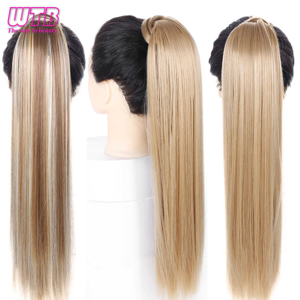 WTB Wrap Synthetic Ponytail Hair Extension Long Straight Women's Clip In Hair Extensions Pony Tail False Hair 22 Inch