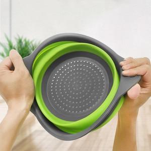 Image 4 - Colador plegable de silicona para frutas y verduras, cesta de lavado, colador, escurridor plegable con utensilios de cocina con mango