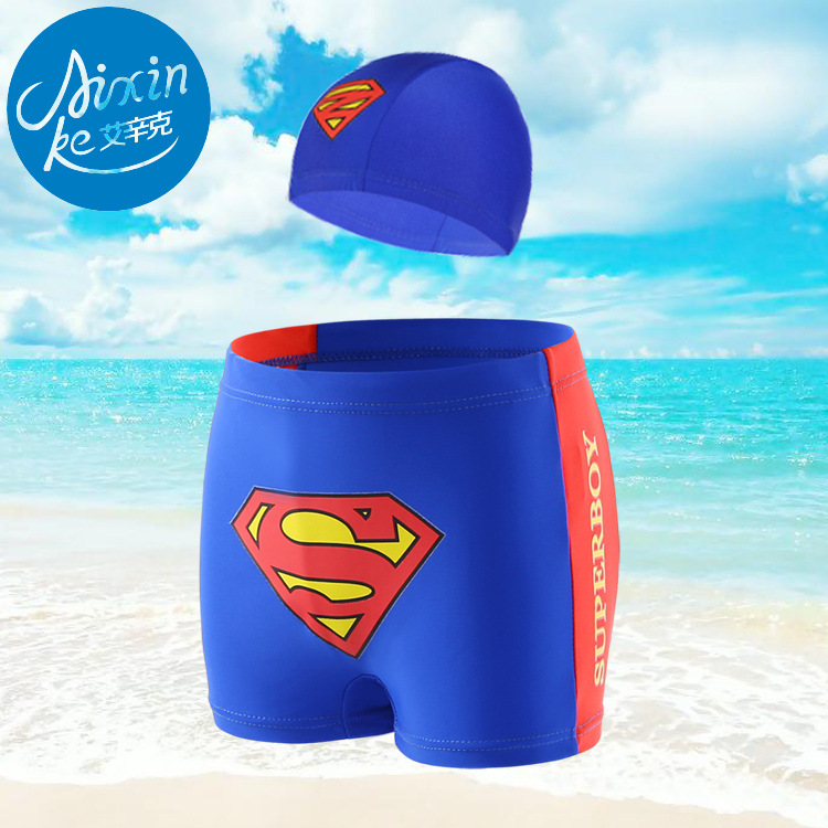 BOY'S Swimsuit Children Leveling Feet Swimming Trunks Small Superman Swimming Trunks Men's Delivery Swimming Cap Two-Piece Set S