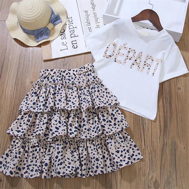criança das meninas roupas camiseta + leopardo