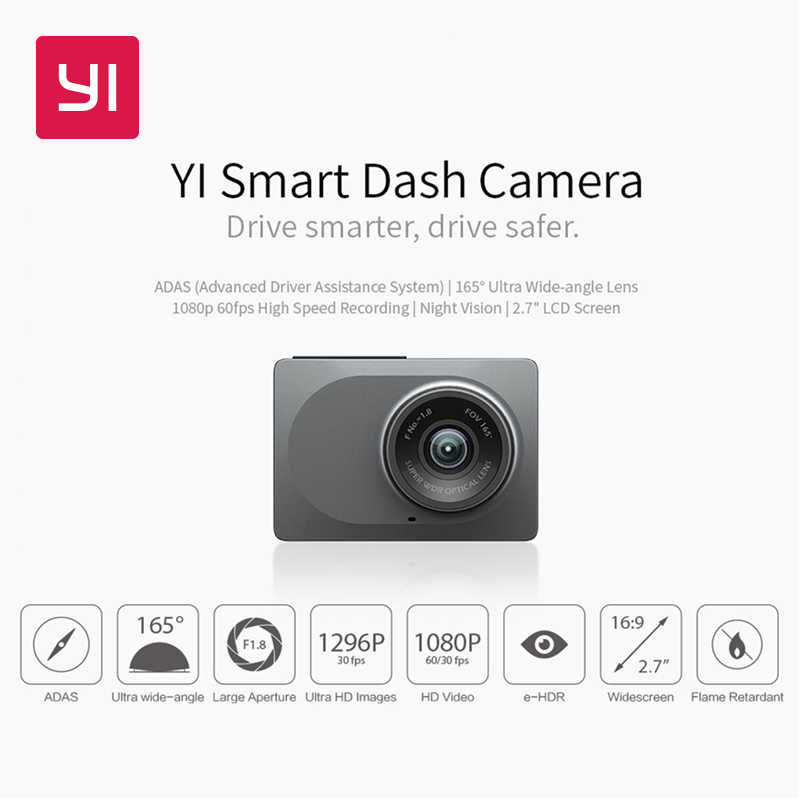 "Yi Smart Dash Camera International Version WIFI Malam Visi HD 1080P 2.7 ""165 Derajat 60fps Adas Aman Pengingat kamera Dashboard"