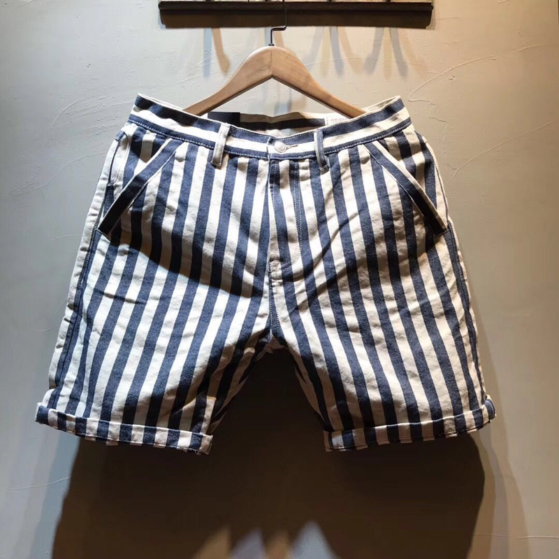 Men's Summer Fashion Brand Cotton Slim Fit Straight Japan Vintage Style Striped Blue Navy Style Casual Shorts Male China Clothes