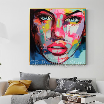 Portrait Face Oil painting Palette Knife Impasto figure canvas Hand painted Francoise Nielly Wall Art Pictures 12-09