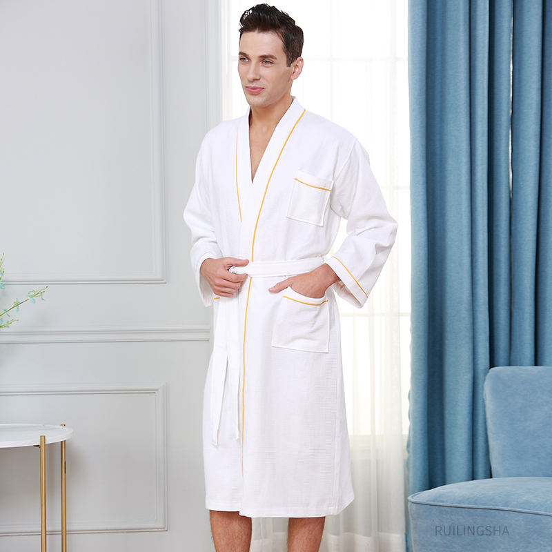 5 Star Hotel Men 100% Cotton Plus Size Sweat Towel Bathrobe Kimono Waffle Bath Robe Mens Night Sleepwear For Women Dressing Gown