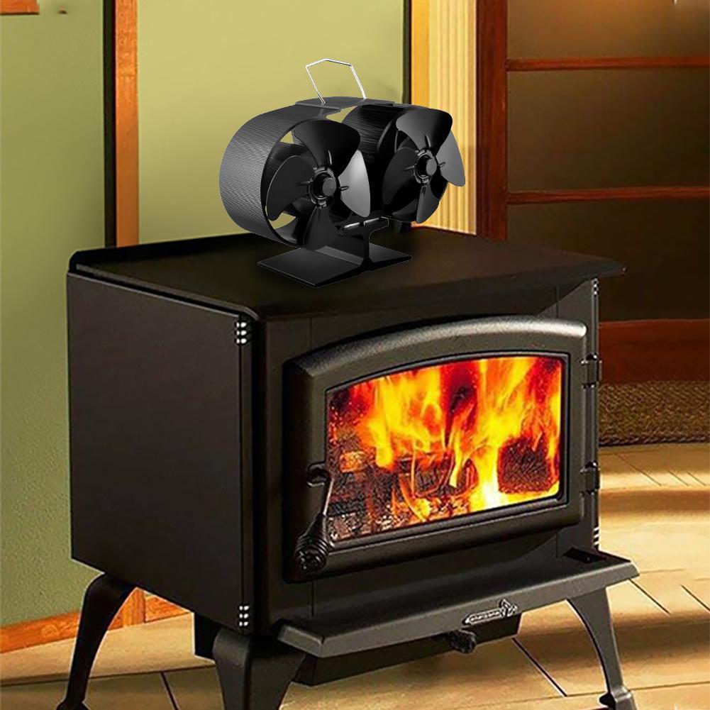 2020 New Power Heat Furnace Fireplace Fan Black Aluminum Heating Fan Heat Powered Stove Fan