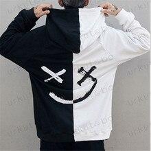 Лидер продаж, модная уличная одежда в стиле хип-хоп размера плюс 3XL, мужские толстовки с капюшоном, свитшоты с принтом смайлика, топы с капюшоном, одежда