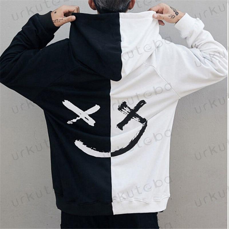 Gorąca sprzedaż moda Plus rozmiar 3XL Hip Hop odzież uliczna mężczyźni bluzy z kapturem uśmiech nadruk bluzy bluza z kapturem ubrania