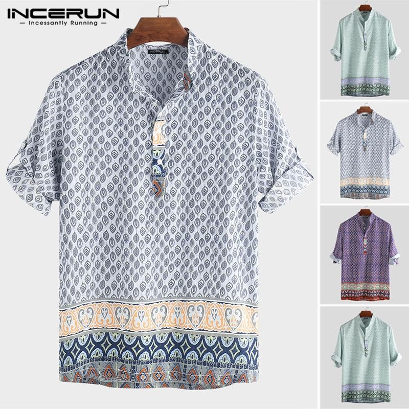 INCERUN Summer Beach Hawaiian Shirt Men Print Stand Collar Loose Half Sleeve Button Tops Casual Bohemian Shirts Men Camisa 2020
